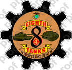 STICKER USMC UNIT   8TH TANK BATTALION ooo Lisc#20187