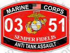 STICKER USMC MOS 0351 ANTI TANK ASSAULT ooo Lisc No 20187