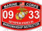 STICKER USMC MOS 0933 MARKSMANSHIP INSTRUCTOR