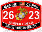 STICKER USMC MOS 2623 RECON RADIO OPERATOR ooo USMC Lisc No 20187