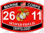 STICKER USMC MOS 2611 CRYPTOLOGIST ooo USMC Lisc No 20187