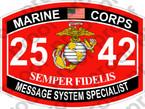 STICKER USMC MOS 2542 MESSAGE SYSTEM SPECIALIST ooo USMC Lisc No 20187