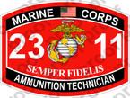 STICKER USMC MOS 2311 AMMUNITION TECHNICIAN ooo USMC Lisc No 20187