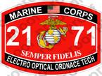 STICKER USMC MOS 2171 ELECTRO OPTICAL ORDANCE TECH ooo USMC Lisc No 20187