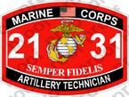 STICKER USMC MOS 2131 ARTILLERY TECHNICIAN ooo USMC Lisc No 20187