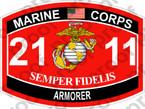 STICKER USMC MOS 2111 ARMORER ooo USMC Lisc No 20187