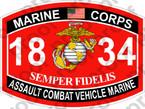 STICKER USMC MOS 1834 ASSAULT COMBAT VEHICLE MARINE ooo USMC Lisc No 20187