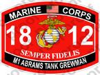STICKER USMC MOS 1812 M1 ABRAMS TANK CREWMAN ooo USMC Lisc No 20187