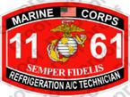 STICKER USMC MOS 1161 REFRIGERATION AC TECHNICIAN ooo USMC Lisc No 20187