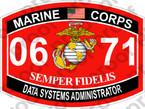 STICKER USMC MOS 0671 DATA SYSTEMS ADMINISTRATOR ooo USMC Lisc No 20187