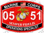 STICKER USMC MOS 0551 OPERATIONS SPECIALIST ooo USMC Lisc No 20187