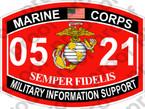 STICKER USMC MOS 0521 MILITARY INFORMATION SUPPORT ooo USMC Lisc No 20187