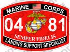 STICKER USMC MOS 0481 LANDING SUPPORT SPECIALIST ooo USMC Lisc No 20187