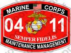 STICKER USMC MOS 0411 MAINTENANCE MANAGEMENT ooo USMC Lisc No 20187