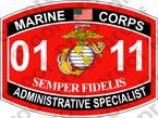 STICKER USMC MOS 0111 ADMINISTRATIVE SPECIALIST ooo USMC Lisc No 20187