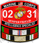 STICKER USMC MOS 0231 INTELLIGENCE SPECIALIST Afgan Iraq ooo USMC Lisc No 20187
