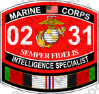 STICKER USMC MOS 0231 INTELLIGENCE SPECIALIST Afghanistan ooo USMC Lisc No 20187