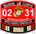 STICKER USMC MOS 0231 INTELLIGENCE SPECIALIST IRAQ ooo USMC Lisc No 20187