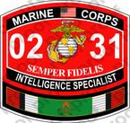 STICKER USMC MOS 0231 INTELLIGENCE SPECIALIST KUWAIT ooo USMC Lisc No 20187