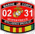 STICKER USMC MOS 0231 INTELLIGENCE SPECIALIST VIETNAM ooo USMC Lisc No 20187