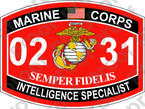 STICKER USMC MOS 0231 INTELLIGENCE SPECIALIST ooo USMC Lisc No 20187
