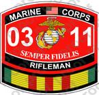 STICKER USMC MOS 0311 RIFLEMAN VIETNAM ooo USMC Lisc No 20187