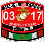 STICKER USMC MOS 0317 SCOUT SNIPER KUWAIT ooo USMC Lisc No 20187