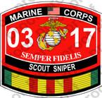 STICKER USMC MOS 0317 SCOUT SNIPER VIETNAM ooo USMC Lisc No 20187