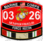 STICKER USMC MOS 0326 FORCE RECON IRAQ ooo USMC Lisc No 20187