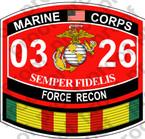 STICKER USMC MOS 0326 FORCE RECON VIETNAM ooo USMC Lisc No 20187