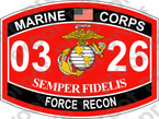 STICKER USMC MOS 0326 FORCE RECON ooo USMC Lisc No 20187