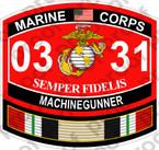 STICKER USMC MOS 0331 MACHINEGUNNER IRAQ ooo USMC Lisc No 20187