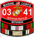 STICKER USMC MOS 0341 MOTARMAN Afgan Iraq ooo USMC Lisc No 20187