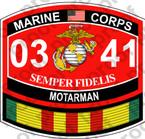 STICKER USMC MOS 0341 MOTARMAN VIETNAM ooo USMC Lisc No 20187