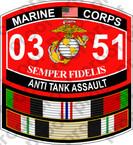 STICKER USMC MOS 0351 ANTI TANK ASSAULT IRAQ ooo USMC Lisc No 20187