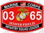 STICKER USMC MOS 0365 INFANTRY SQUAD LEADER   ooo   USMC Lisc 20187