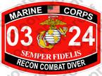 STICKER USMC MOS 0324 RECON COMBAT DIVER   ooo   USMC Lisc 20187