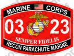 STICKER USMC MOS 0323 RECON PARACHUTE MARINE   ooo   USMC Lisc 20187