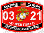 STICKER USMC MOS 0321 RECONNAISSANCE MARINE   ooo   USMC Lisc 20187
