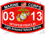 STICKER USMC MOS 0313 Light Armored Vehicle Marine   ooo   USMC Lisc 20187
