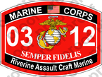 STICKER USMC MOS 0312 Riverine Assault Craft Marine   ooo   USMC Lisc 20187