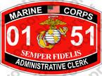 STICKER USMC MOS 0151 ADMINISTRATIVE CLERK   ooo   USMC Lisc 20187