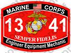 STICKER USMC MOS 1341 Engineer Equipment Mechanic   ooo   USMC Lisc 20187