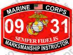 STICKER USMC MOS 0931 MARKSMANSHIP INSTRUCTOR   ooo   USMC Lisc 20187