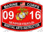 STICKER USMC MOS 0916 MARTIAL ARTS INSTRUCTOR   ooo   USMC Lisc 20187