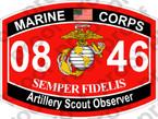 STICKER USMC MOS 0846 Artillery Scout Observer   ooo   USMC Lisc 20187