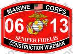 STICKER USMC MOS 0613 CONSTRUCTION WIREMAN   ooo   USMC Lisc 20187