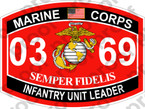 STICKER USMC MOS 0369 INFANTRY UNIT LEADER   ooo   USMC Lisc 20187