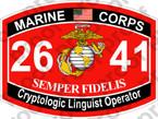 STICKER USMC MOS 2641 Cryptologic Linguist Operator   ooo   USMC Lisc 20187
