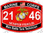 STICKER USMC MOS 2146 Main Battle Tank Tech   ooo   USMC Lisc 20187